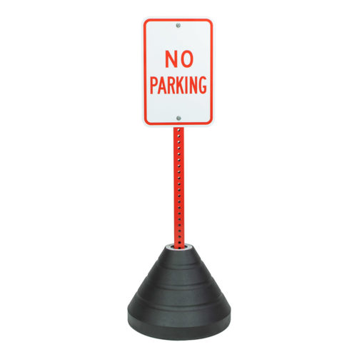 Sign Base Square Hole (Black), Red Pole, No Parking